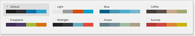 WordPress 3.8 admin colour scheme options