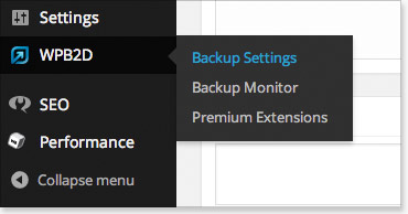 WordPress Backup To Dropbox Settings