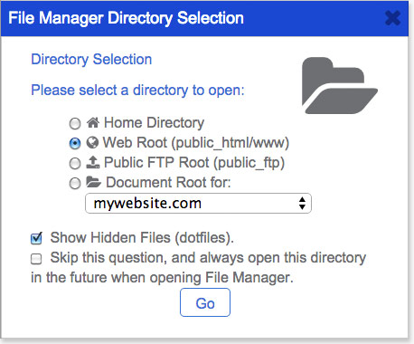 Bluehost File Manager - Tick the show hidden files option