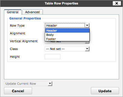 TinyMCE Table Row Properties