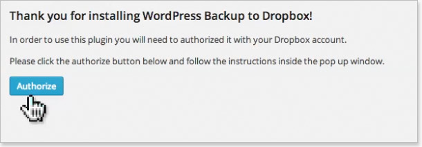 Authorize WordPress backup to Dropbox