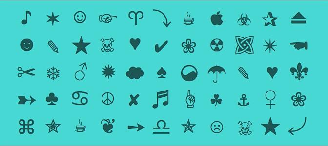 HTML icons unicode characters