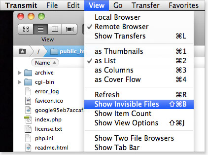 Show invisible files - Transmit FTP client