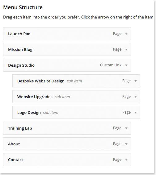 WordPress Menus Structure