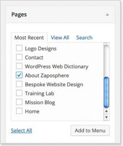 Creating a custom menu in WordPress