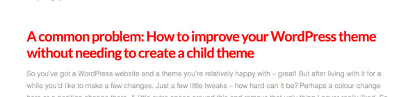 custom css in WordPress without a child theme