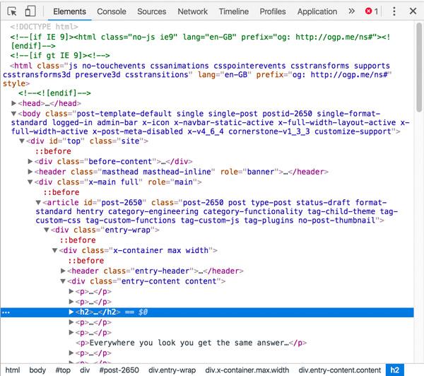 Chrome Inspect panel HTML code