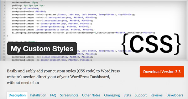 My Custom Styles WordPress Plugin Free